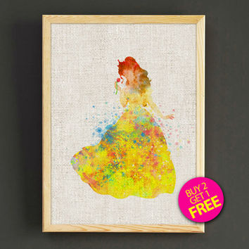 Beauty and the Beast Belle Watercolor Art Print Disney Princess Poster House Wear Wall Decor Gift Linen Print - Buy 2 Get 1 FREE - 102s2g