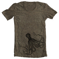 Unisex T shirt - OCTOPUS - Men's Women's American Apparel Tshirt - Coffee (9 COLORS) - Sizes xs, s, m, l, xl - (gct)
