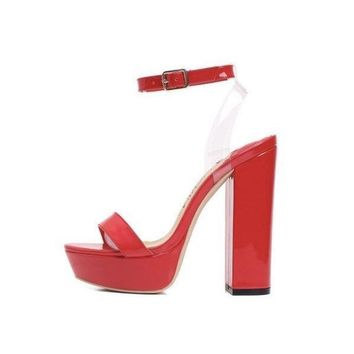 Clear Strap Platform Chunky Heel