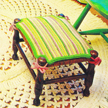 INSTANT DOWNLOAD PDF Vintage Crochet pattern footstool cushion footrest cushion stoolcover epsteam home decor couch pillow knitting pattern