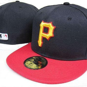 Pittsburgh Pirates New Era 59fifty Mlb Hat Black Red