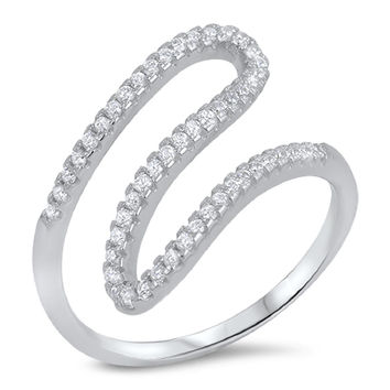 Sterling Silver CZ Simulated Diamond Twisted Swirl Ring 18MM