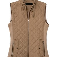Light Brown Ribbed Cotton-Padded Vest