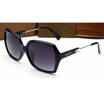 Gucci Personality Women Casual Sun Shades Eyeglasses Glasses Sunglasses Black Frame G