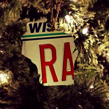 "Upcycled Wisconsin License Plate ""State of Wisconsin"" Ornament"