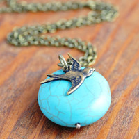Turquoise and Sparrow Pendant  antiqued brass bird by MegusAttic