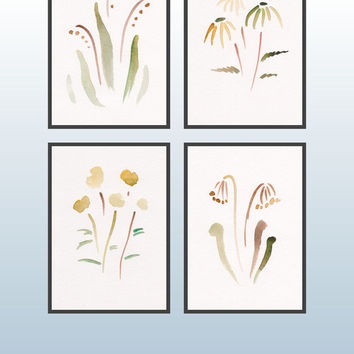 Art set of four watercolor sketches. Abstract flower illustrations. Summer colors. Lily-of-the-valley, daisy, primrose.