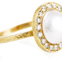 Pavé Sapphire Small Pearl Kori Ring, Stone & Novelty Rings