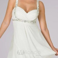 White Sweetheart Lace Chiffon Satin Summer Homecoming Cocktail Dress