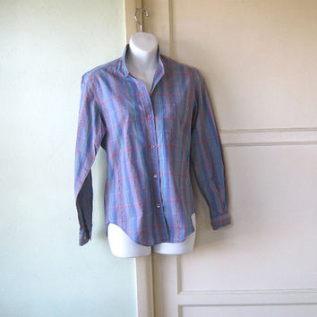 Beautifully Tailored Vintage Teal & Lavender Purple Plaid Shirt - 1970s John Henry Shirt - High Neck, Long Sleeve Women's Shirt; Small-Med