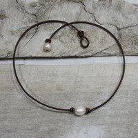 16 inch leather and freshwater pearl necklace - best price, huge ringed pearl