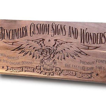 Custom Sign: Engraved Wooden Sign for Custom Logos and Images Man Cave Sign Motorcycle Sign Business Sign Walnut CI