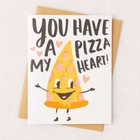 Hello! Lucky Pizza My Heart Letterpress Greeting Card - Urban Outfitters