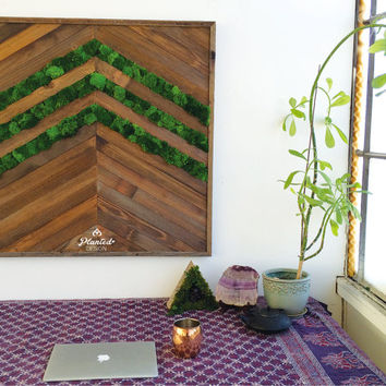 "36.5""x36.5"" Plant Painting with Real Preserved Moss. No Care Green Moss & Fern Wall Art in Reclaimed Wood Frame Chevron"