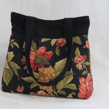 Black Floral Pleated Bag, Diaper Bag, Tote, Overnight Bag, Beach Bag,Weekend Bag, Beach Bag, Ready to ship now Item!