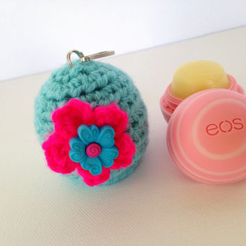 EOS Lip Balm Cozy/Holder with Split Ring and  Clasp - Turquoise with Flower