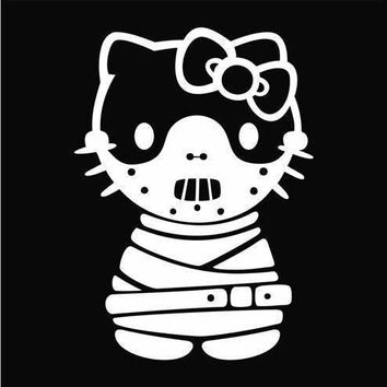 BlackLite Outline Hannibal Lecter Hello Kitty Decal Sticker Vinyl Decorative for Wall Car Auto Ipad Macbook Laptop
