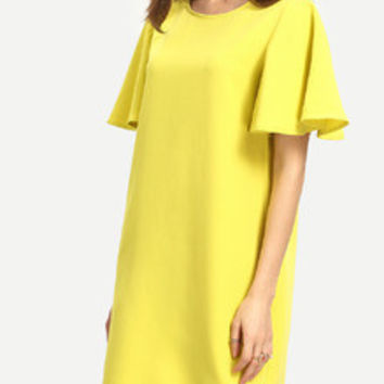 Summer Yellow Short Ruffle Sleeve Shift Classy Trendy Dress