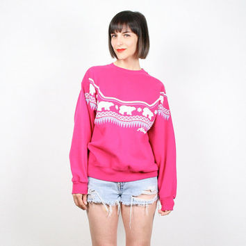 Vintage Hot Pink Sweatshirt Novelty Print Sweater Jumper Pullover Polar Bear Print Alaska Screen Print Kawaii T Shirt 80s M Medium L Large