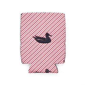 Signature Coozie in Pink Stripe with Navy by Southern Marsh