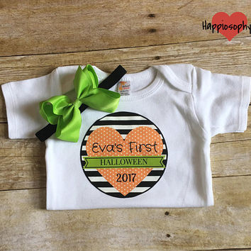 Baby Girl Personalized Halloween Onesuit, First Halloween Outfit, Baby Girl Halloween Outfit, 1st Halloween Onesuit, Stripe Onesuit, Bodysuit