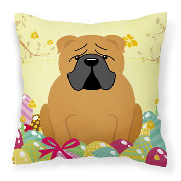 Easter Eggs English Bulldog Red Fabric Decorative Pillow BB6122PW1818