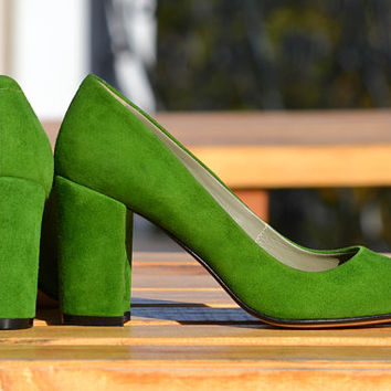 Jane - Women's Handmade High Heel Green Suede Classic Shoes, Wedding Shoes, Fashion Pumps, Spring Fashion, Free Customization
