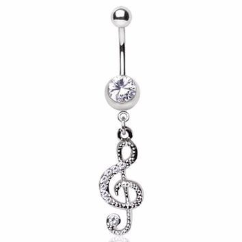 316L Surgical Steel Gemmed Musical Treble Clef Dangle Navel Ring