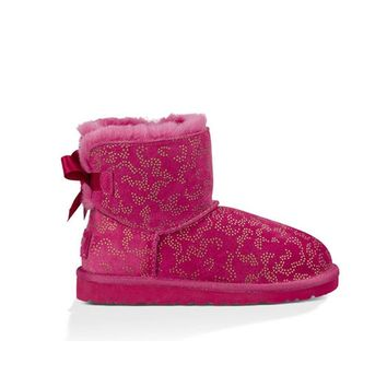 UGG Kids Mini Bailey Bow Metallic Conifer Boot
