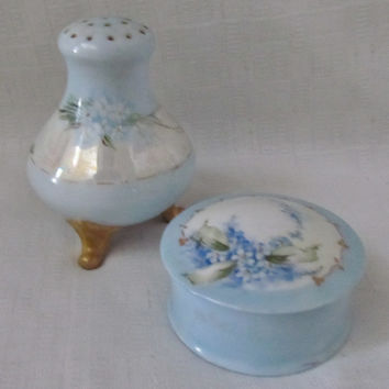 SALE ITEM Vintage Porcelain Dresser Set, Royal China Austria, Talcum Shaker Bottle, Trinket Box, Hand Painted, Vintage 50s