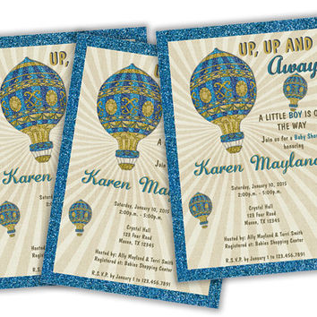 Vintage Boy Baby Shower Invitations - Blue Hot Air Balloon Baby Shower - Glitter Baby Shower Invitation - Baby Shower Invite - Balloons
