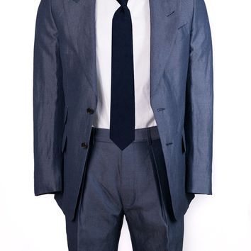 Tom Ford Blue Chambray Wool Blend Windsor Two Piece Suit