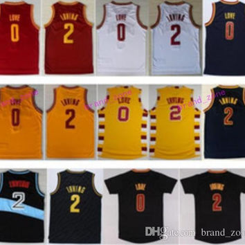 2017 Men 2 Kyrie Irving Jersey Rev 30 New Material 0 Kevin Love Shirt Uniform Fashion Trowback Red White Yellow Black Navy Blue Best Quality