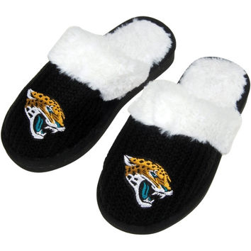 Jacksonville Jaguars Ladies Knit High End Button Boot Slippers - Black