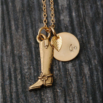 Gold Riding Boot Charm Necklace, Initial Charm Necklace, Personalized, Boot Charm, Riding boot Pendant, Cowgirl Jewelry, Cowgirl charm