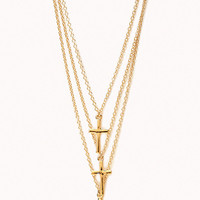 FOREVER 21 Layered Cross Necklace Gold One