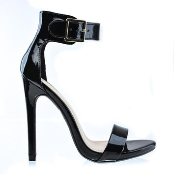 Canter Black Patent By Delicious, Delicious Women's Single Sole Ankle Strap High Heels