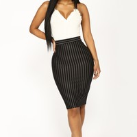 Long Line Stripe Skirt - Black/White