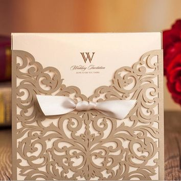 50pcs FREE SHIPPING Champagne Gold Vine Vintage Flower Wedding Invitation Card Cover Only, With Bow,NO inner insert,NO envelope