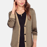 Volcom For Keeps Brown Striped Cardigan Sweater