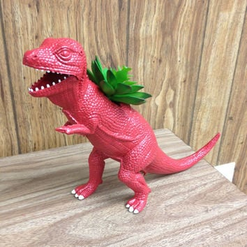 Huge Recycled Red T-Rex Dinosaur Planter