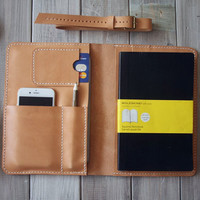 Leather iPad Mini Case Hand Stitched Portfolio, Large Moleskine notebooks Cover Sleeve - Premium Italian Vegetable Tanned Leather Made