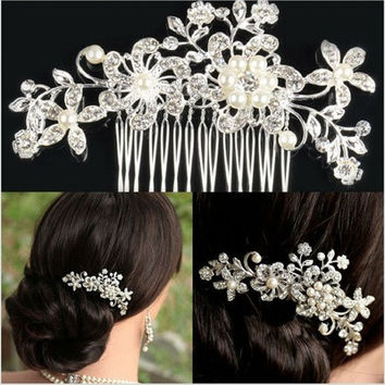 Bridal Wedding Flower Crystal Rhinestone Hair Clip Comb Pin Diamante Silver P4PM [7983234951]