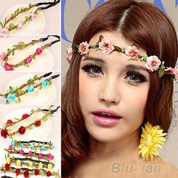 Boho Style Floral Flower Women Girls Hairband Headbands Festival Party Wedding 3ZY7