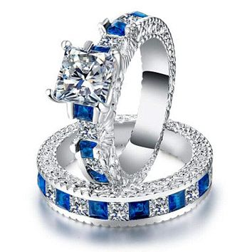 2Pcs Couple Ring Set Blue Zircon Women Men Wedding Engagement Jewelry Size 5-11