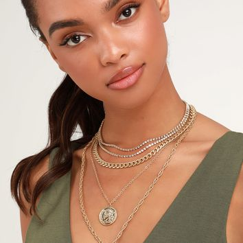 Beatrice Gold Rhinestone Layered Coin Necklace