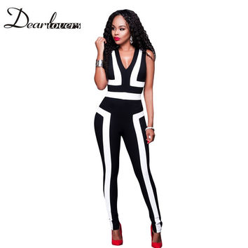 Dear lover Spandex Bodysuit  Catsuit  Black White Color-Block V Neck Sleeveless Long Bodycon Jumpsuit Mono Sexy Overalls LC64186