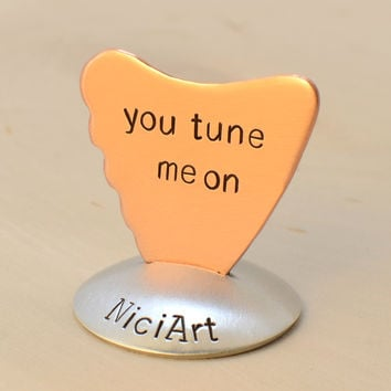 Copper Shark Fin Artisan Guitar Pick Handmade and Stamped with You Tune me On