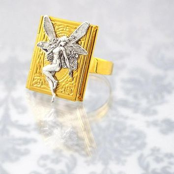 Fairy Book Locket Fantasy Ring - Silver and Gold Plated