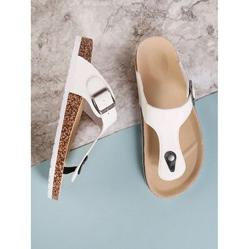 Cork Footbed Slide Sandal with Buckled T-Strap Thong WHITE